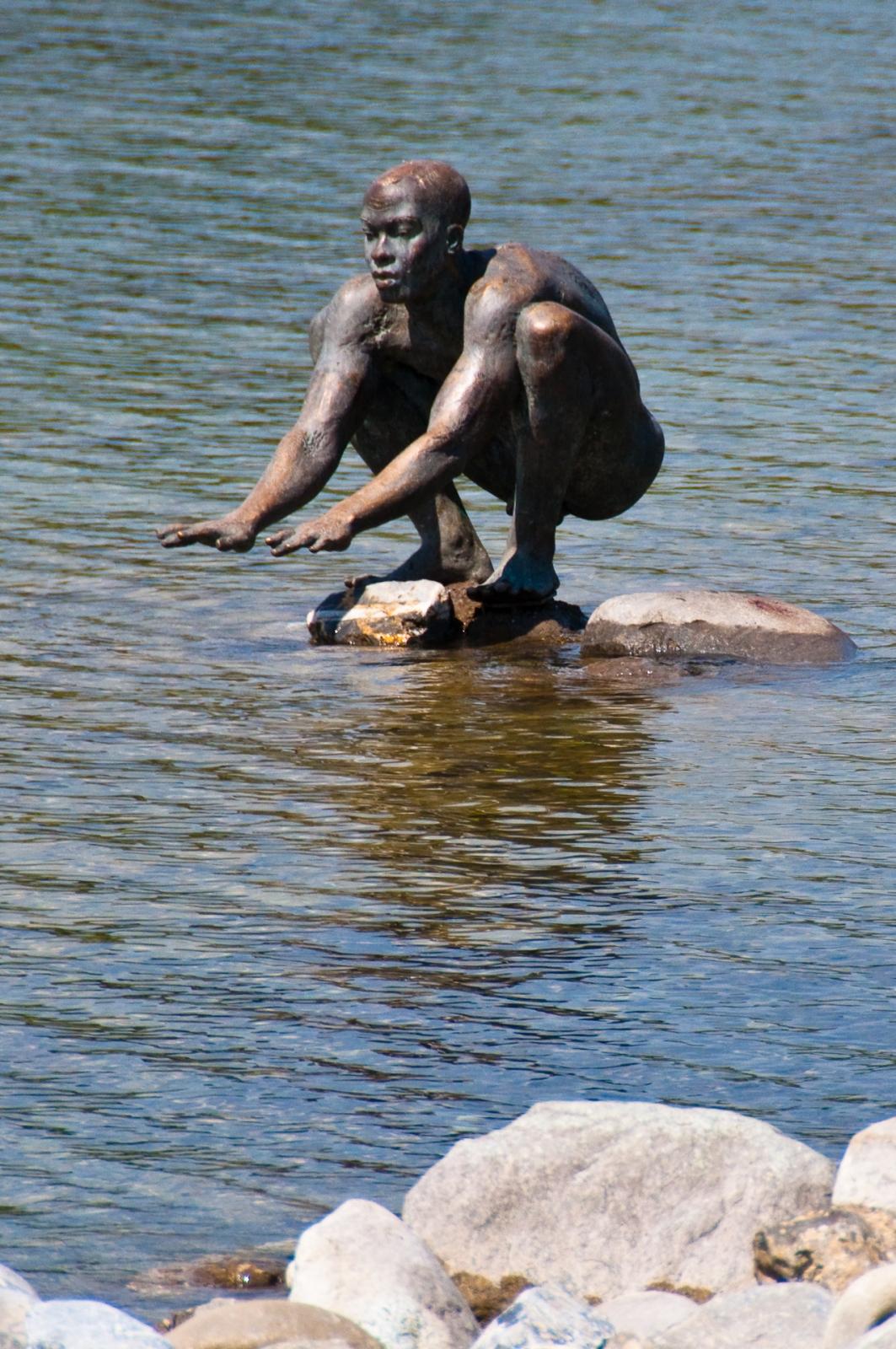radolfzell staty statue swimmer bodensjön bodensee lake constance