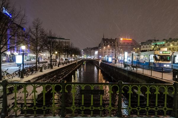 Snöstorm på Stampgatan