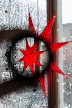 Julstjärna genom Dörr semi-fisheye-adapter