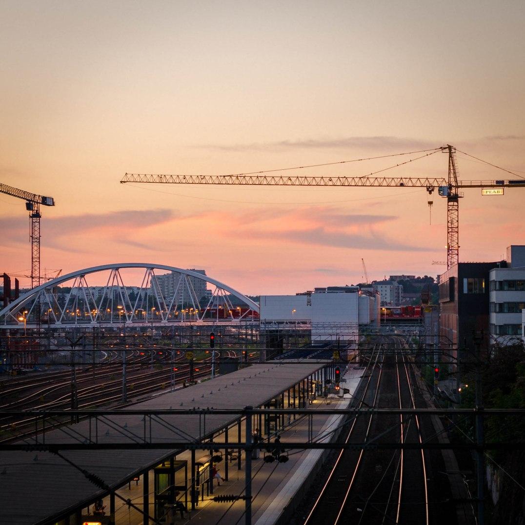 Solnedgång över Mall of Scandinavia