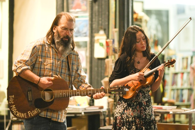 """Annie and Harley play """"This City"""" and then """"After Madi Gras""""Annie Tee- Lucia MicarelliHarley Watt- Steve Earle"""