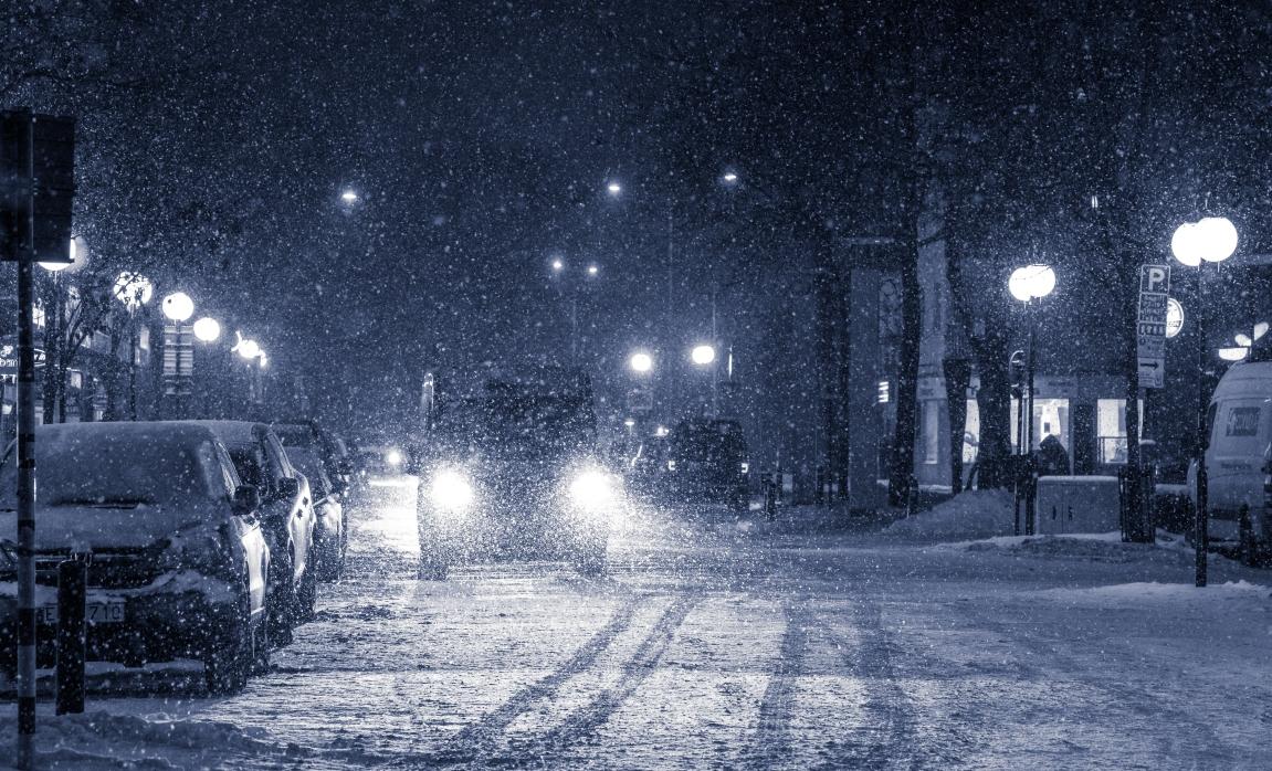 Gullmarsplan i snöstorm