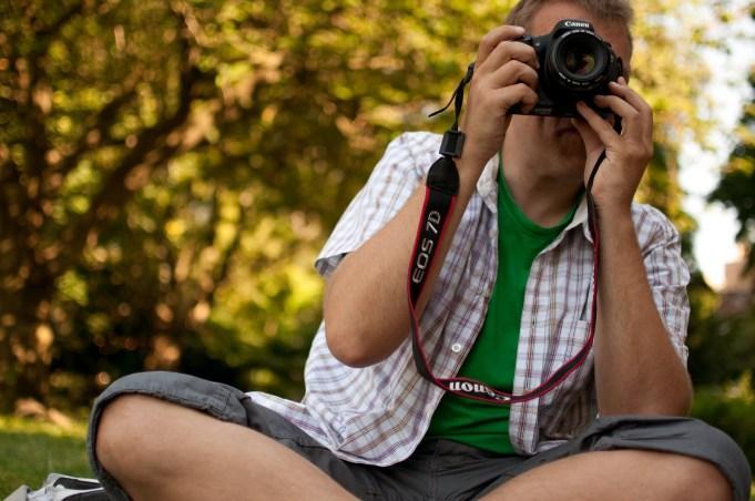 Jag och Fredrik byter kamera