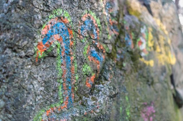 Ingen graffiti här, bara pastellkritor